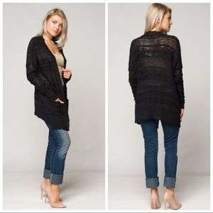 ❤️LAST M/L NEW Black Crochet Knit Cardigan